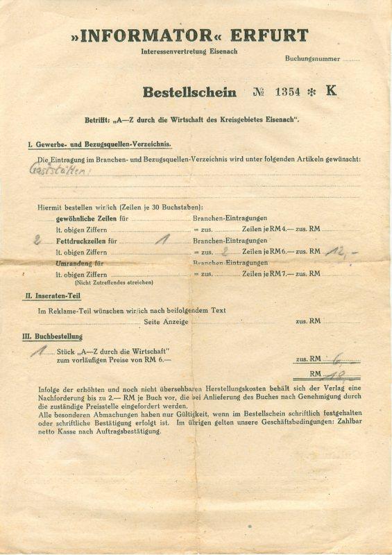 5960 eisenach rechnung gasthaus v lkershausen rh n 1948. Black Bedroom Furniture Sets. Home Design Ideas