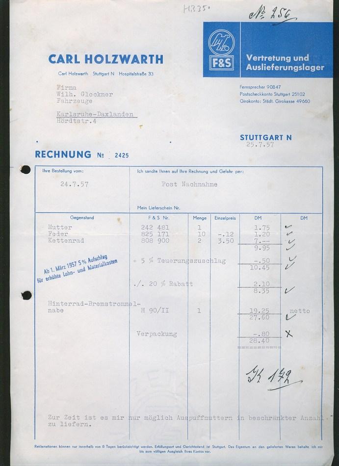 L290/ Stuttgart, alte Rechnung Fahrradteile Fahrrad, 1957 | eBay